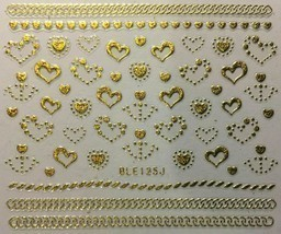 Nail Art Decal Stickers Gold or Silver Hearts & Anchers Valentine's Day ... - $3.19