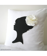 Handmade Bridal Gift. Lady Silhouette White And Black Decorative Pillow ... - $40.90