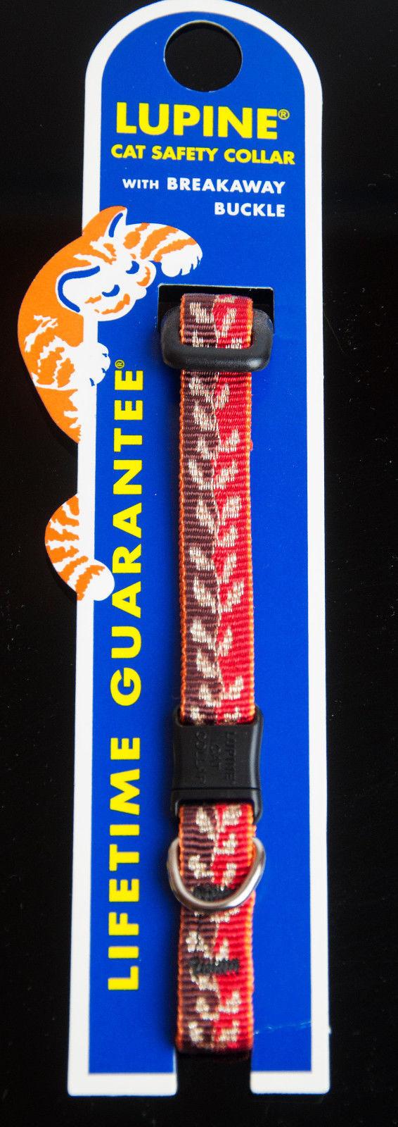 "Lupine Cat Safety Collar Breakaway Buckle Adjust 8-12""  ""Gold Leaf"""