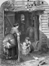 MOTHER Children Lot of Birds Home Front Door - 1875 Print Engraving - $16.20