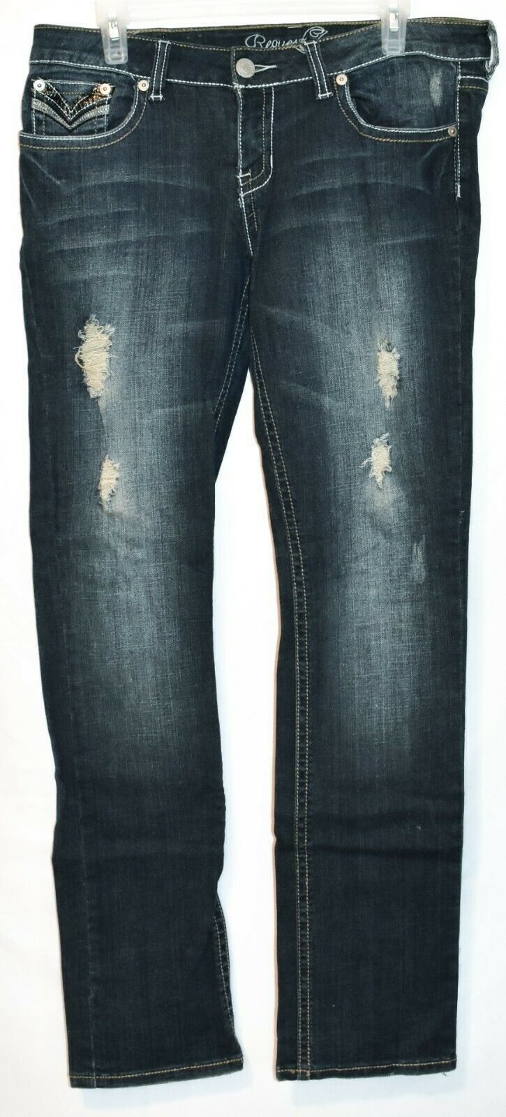 Request Women's Dark Blue Distressed Rhinestone Embellished Jeans Size 13/32