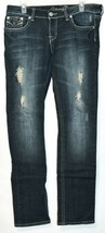 Request Women's Dark Blue Distressed Rhinestone Embellished Jeans Size 13/32 image 1