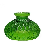"""Green Glass Diamond Quilt Beaded 10"""" Oil Lamp Shade Quilted Student fit Aladdin - $58.95"""