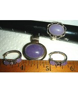 VTG 925 STERLING SILVER LAVENDER JADE AMETHYST HOOP EARRINGS PENDANT RIN... - $397.99