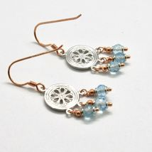 EARRINGS SILVER 925 LAMINATED GOLD PINK WITH AQUAMARINE FACETED image 7