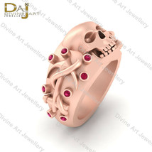 Pink Diamond Gothic Skull Engagement Ring For Unisex Skull Anchor Weddin... - $289.99