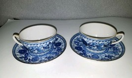 4 Pc Fred Roberts Co Japan Blue & White Floral Gold Trim ~ 2 Cup & Sauce... - $9.89