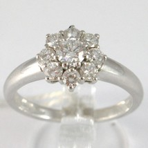 White Gold Ring 750 18k, Flower Rosette with diamonds carat total 0.77 image 1
