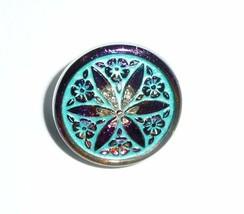 Beautiful Star Flower Czech Glass Shank Button 18mm Volcano Vitrail w/ T... - $6.49