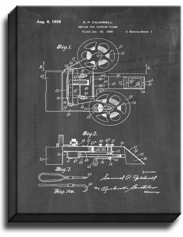 Primary image for Device For Viewing Films Patent Print Chalkboard on Canvas