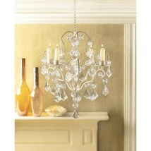 Jeweled Chandelier Candle Holder Ivory Wedding Hanging Decor - $26.68