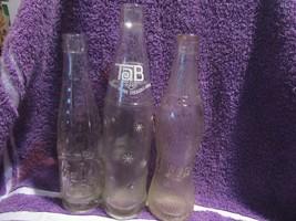 3 Vintage Ebossed Original Soda Bottles 1920s-60s. - $24.74