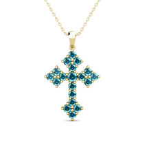"2.02 Carat Blue Diamond Antique Cross Unisex Pendant 18"" Chain 14K Yello... - $1,017.70"
