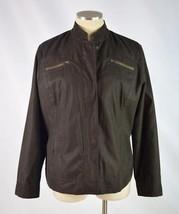 CHICOS Dark Brown Lightweight Zip Up Classic Crop Moto Field Jacket Wome... - $19.79