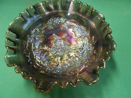 "Beautiful Vintage  IMPERIAL Smoke Carnival Glass ""Windmill"" design BOWL - $47.11"