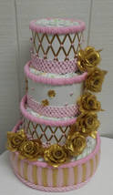 Gold and Pink Elegant Baby Girl Themed Baby Shower 4 Tier Diaper Cake - $80.00