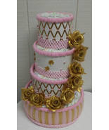 Gold and Pink Elegant Baby Girl Themed Baby Shower 4 Tier Diaper Cake - $65.00