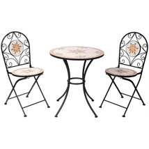 Outdoor Bistro Set Round Table Folding Chair Patio Dining Furniture Mosa... - €198,55 EUR