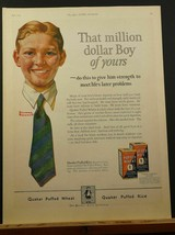 1924 Norman Rockwell Quaker Puffed Wheat That Million Dollar Boy Of Yours Ad - $9.99