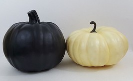 Set Of 2 Halloween Pumpkins - Black & Creamy Yellow - Foam - £21.68 GBP