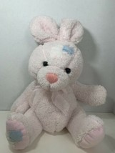 Dan Dee light baby pink Easter bunny rabbit plush blue white patches pat... - $8.90