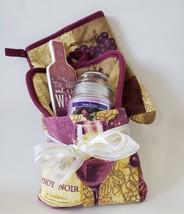 Kitchen Towel Basket, Pinot Noir Wine theme, Dish Towel Potholder Mitt Candle + - $19.99