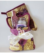 Kitchen Towel Basket, Pinot Noir Wine theme, Dish Towel Potholder Mitt C... - $19.99