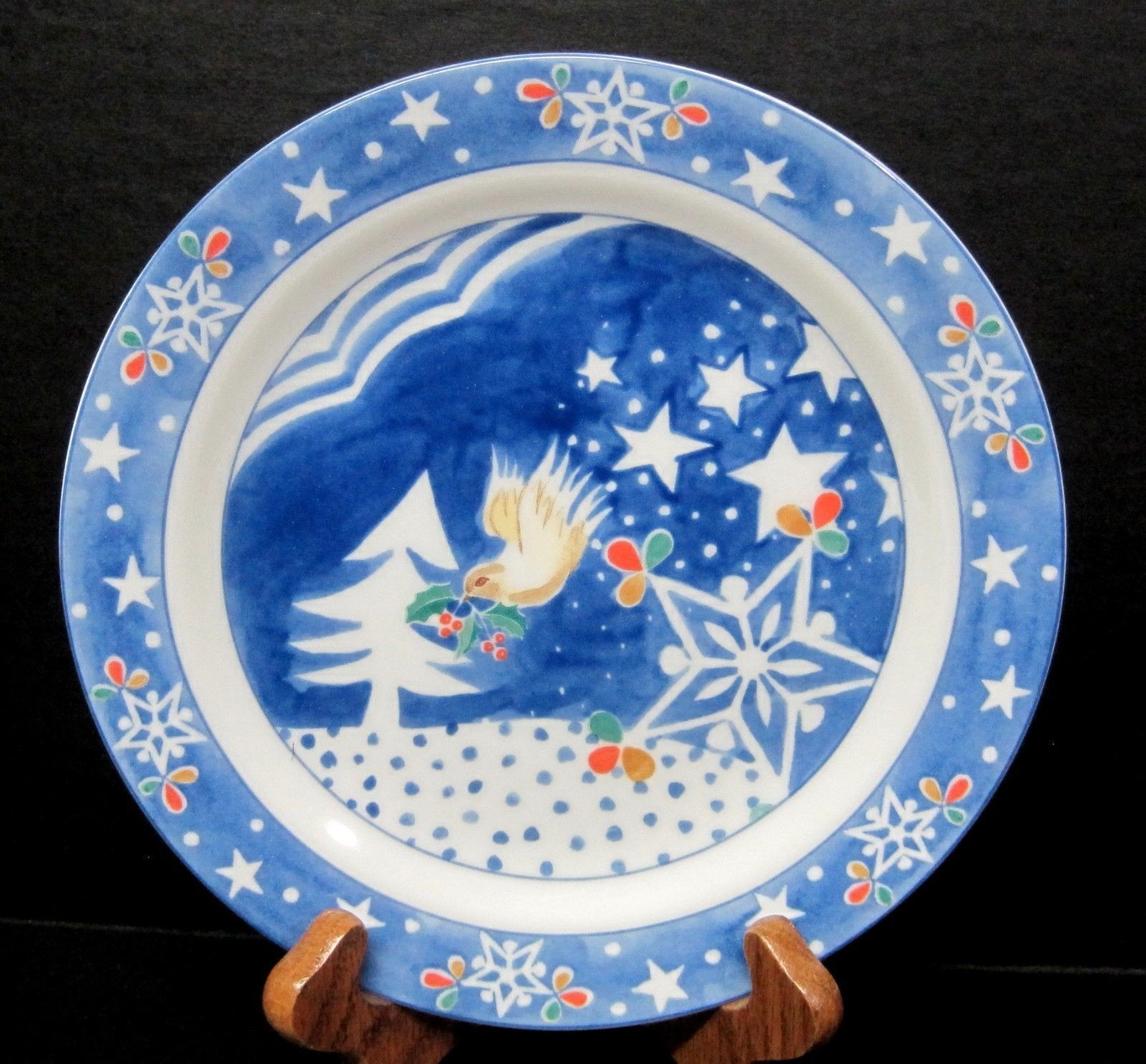 Primary image for Mr Snowman By Epoch Noritake Salad Plate In Great Shape  Bird w Holly