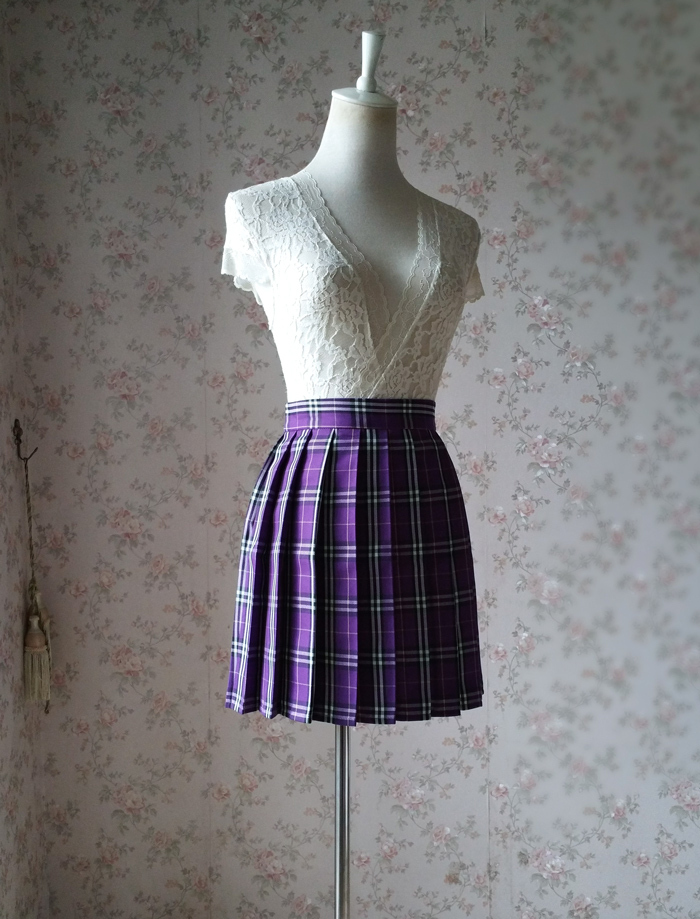 Plaid skirt purple 1