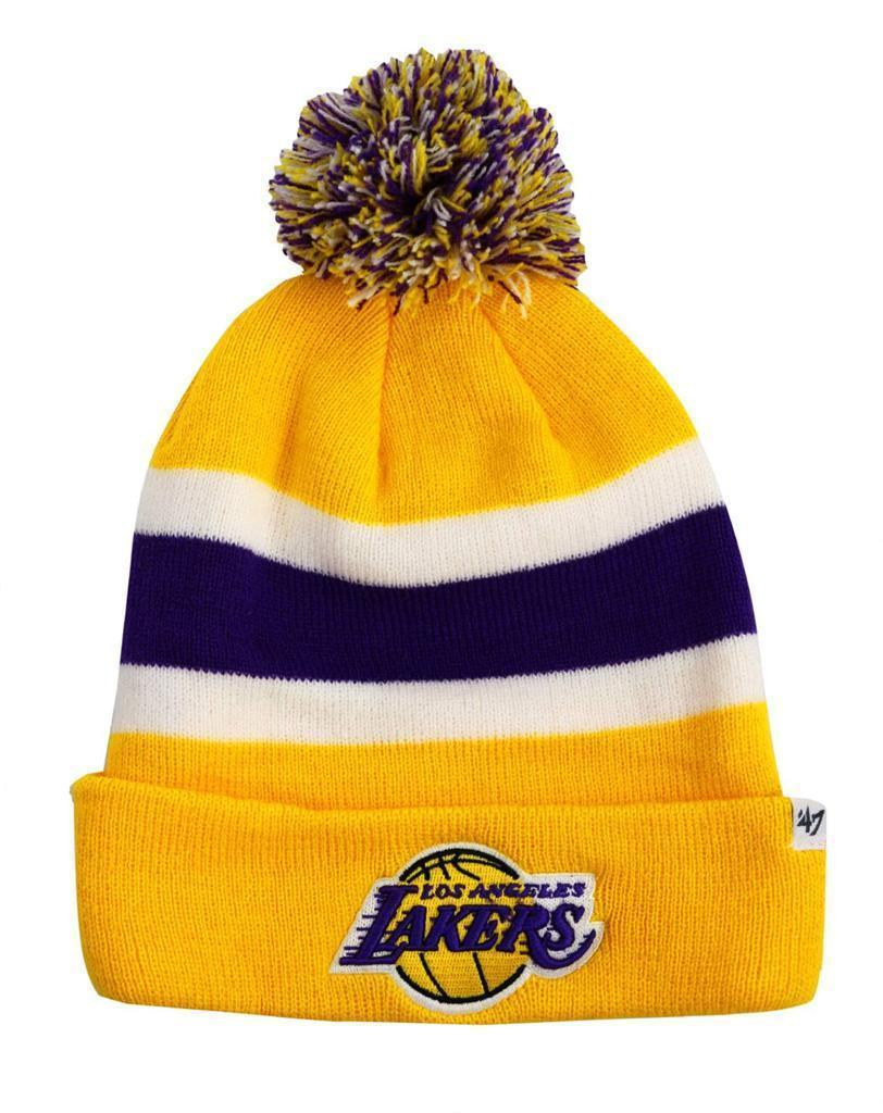 NEW FORTY SEVEN 47 WINTER NBA LA LOS ANGELES LAKERS STRIPED HAT BEANIE ONE SIZE