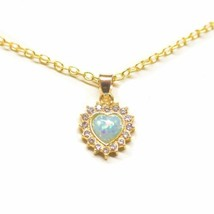 "Opal Created Heart Necklace with Swarovski Crystals 18"" - 14K Gold Plated - $16.83"