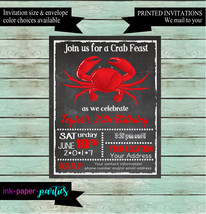 Crab Seafood Feast Shower or Birthday Annual Party Chalkboard Party Invi... - $1.10