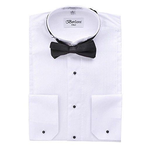 Berlioni Italy Men's Tuxedo Dress Shirt Wingtip & Laydown Collar with Bow-Tie (M