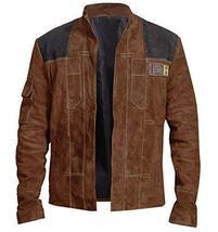 Han Solo A Star Wars Story Warrior Alden Ehrenreich Brown Suede Leather Jacket image 1