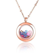 Womens Colorful Stones Photo Frame Stainless Steel Pendant Necklace Lock... - $32.88