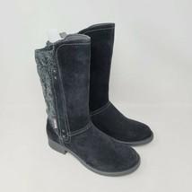 Muk Luks Casey Womens Knit Boots Black Faux Suede Side Zip Mid-Calf Size 7 - $38.87