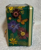 Chrysanthemum flowers butterfly Aluminum Storage Tin Music box Desk Quartz Clock image 4