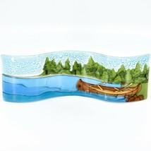 Fused Art Glass Lake River Canoe Lakefront Wavy Sun Catcher Handmade in Ecuador