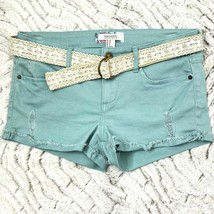 Forever 21 Junior Jr Womens sz 28 Distressed Sea Foam Green Belted Booty... - $19.79