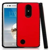 Red/Black Hybrid Case Protector Cover for LG Rebel 2/Phoenix 3/Fortune - $11.07