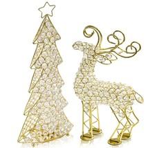 "2.5"" x 8"" x 14"" Gold Crystal Reindeer - $31.45"
