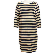 RALPH LAUREN Navy Blue Gold Metallic Striped Cotton Blend Sweater Knit D... - $64.99