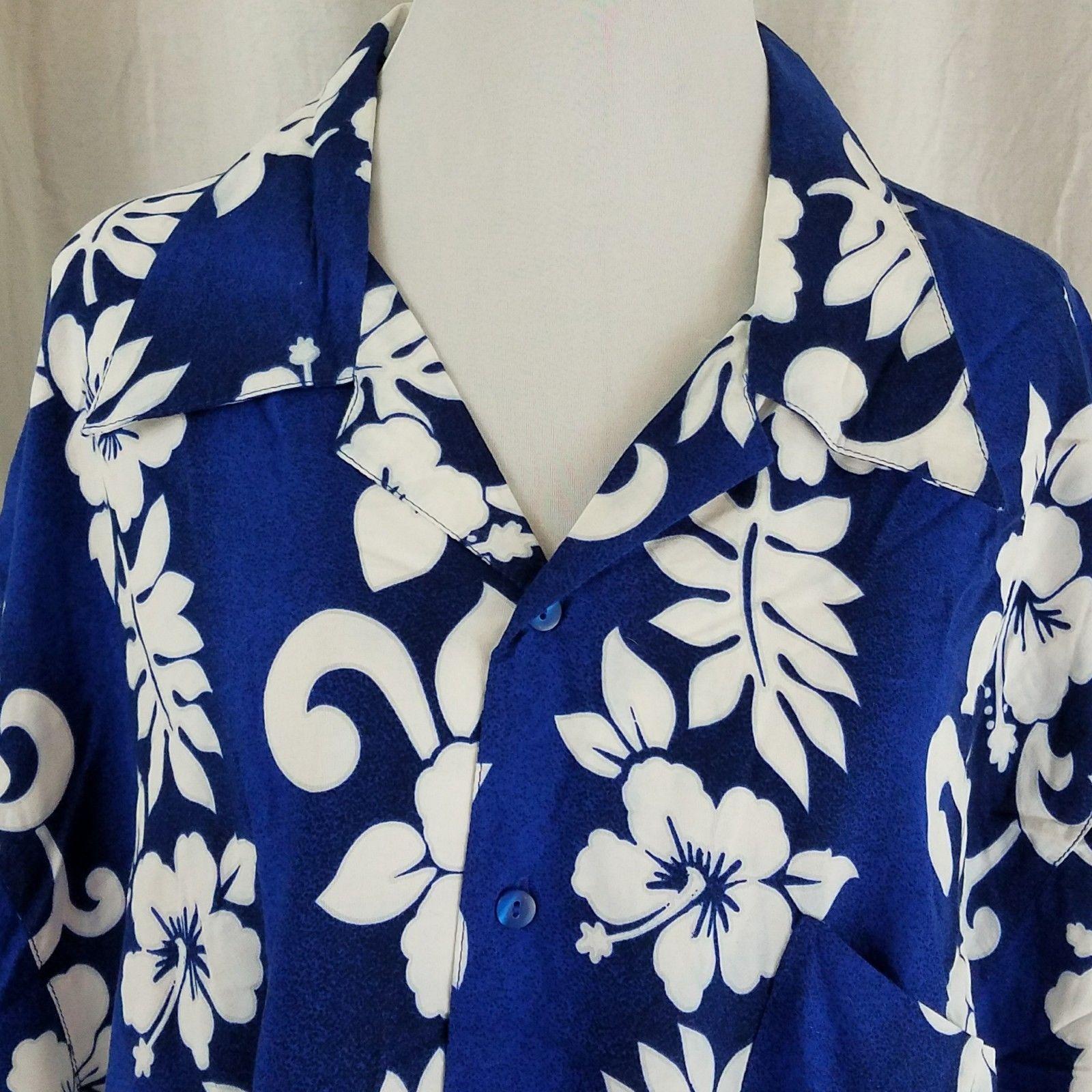 Hawaiian Hibiscus Aloha Shirt Button Down Blue and White Size 2XL