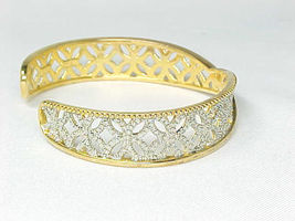 CUFF BRACELET with Diamond Accent in 14K GOLD Vermeil on STERLING- 2 Tone Design image 2