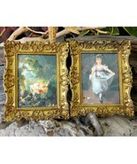 Vintage Set Ornate Frame Victorian Print Flower... - $28.95