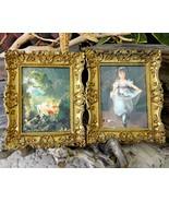 Vintage Set Ornate Frame Victorian Print Flower... - $28.95