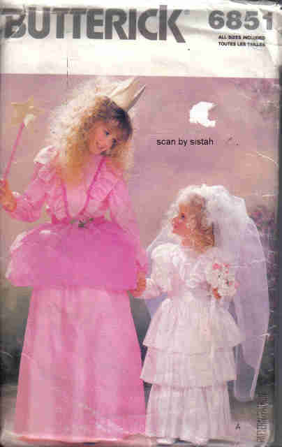 Butterick  6851 Pattern girl child S M L XL Fairy Godmother Bride party costume