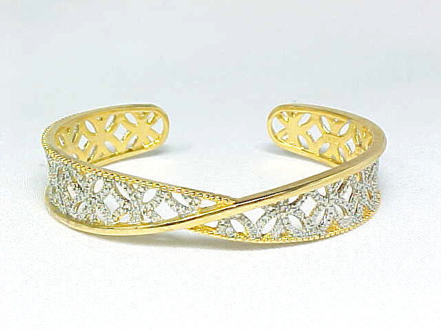 CUFF BRACELET with Diamond Accent in 14K GOLD Vermeil on STERLING- 2 Tone Design