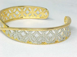 CUFF BRACELET with Diamond Accent in 14K GOLD Vermeil on STERLING- 2 Ton... - $115.00