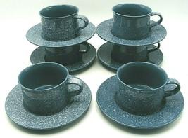 Mikasa Ultrastone Country Blue Flat Cup Mug Saucer Sets CU501 White Spec... - $90.00